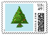 Pixel Christmas Tree Postage Stamp