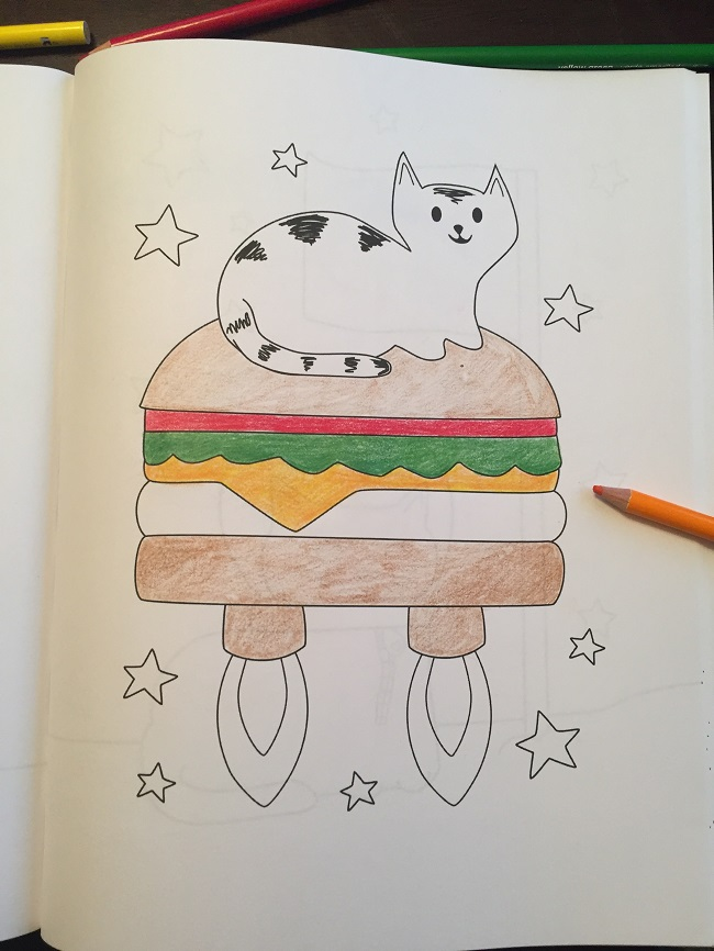 Cats in Space Hamburger Rocket Coloring Book Wenzel