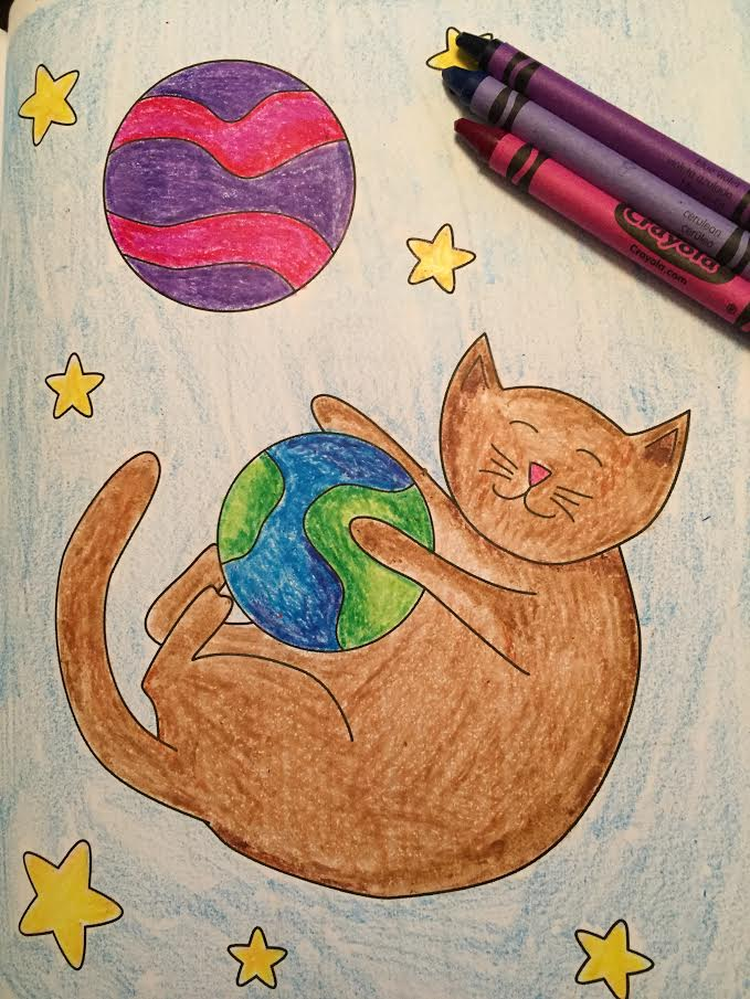 Cats in Space crayon coloring book kids