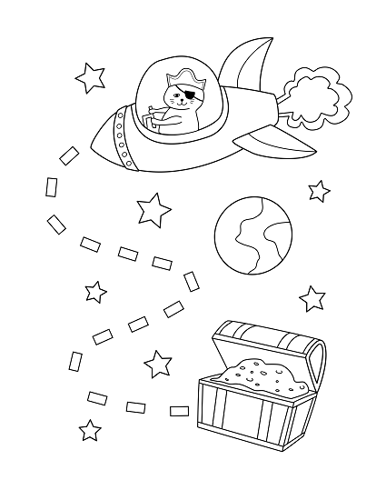 space pirate cat julie wenzel coloring book free page